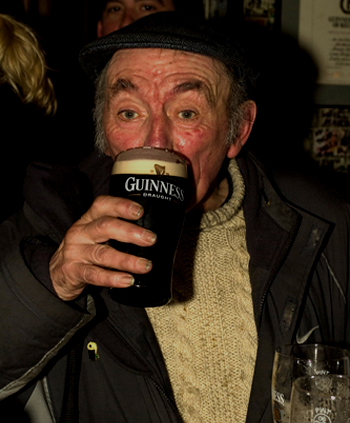 old man with pint